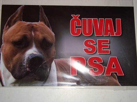 Tabla Čuvaj se psa-PIT BUL