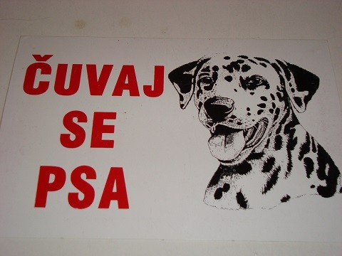 Tabla-Čuvaj se psa DALMATINAC