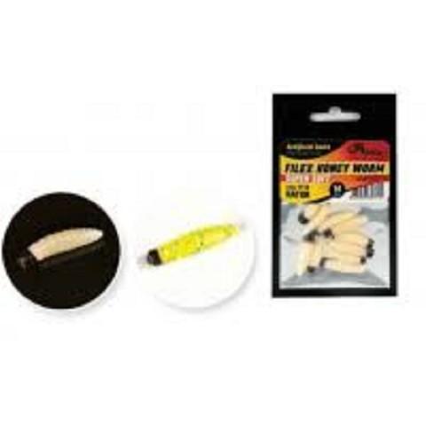 Veštački crvić Honey worm 10 kom/pakovanje-svetlo zeleni sa šljokicama i crnom glavom